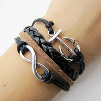 silvery infinity anchor bracelet women black rope leather bracelet women jewelry bangle  1286A