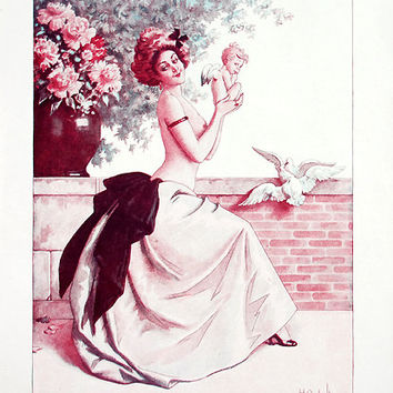 1920 - French - Vintage Illustration - Romantic - Love - Angel - Amour - Birds - Woman Portrait - French Wall Art