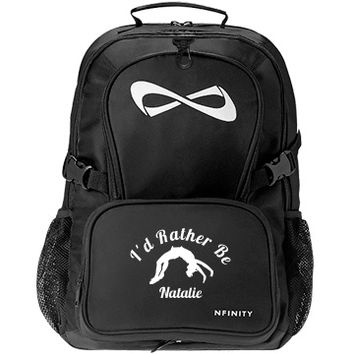 I'd Rather Be Cheering: Custom Nfinity Black Backpack Bag - Customized Girl