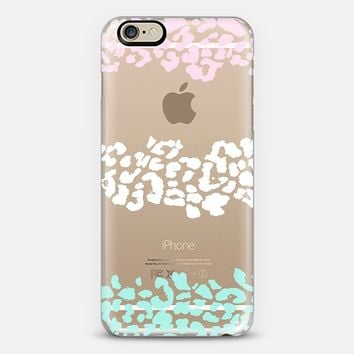 Pink White Mint Wild Leopard Transparent iPhone 6 case by Organic Saturation | Casetify
