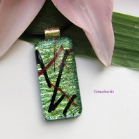 Kyoto Pond Handmade Dichroic Fused Glass Jewelry Pendant