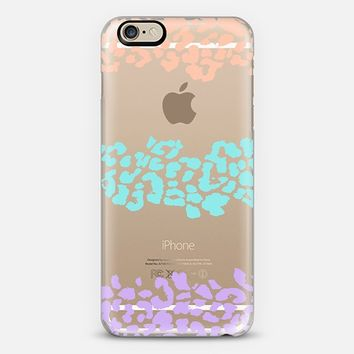 Peach Turquoise Lilac Wild Leopard Transparent iPhone 6 case by Organic Saturation | Casetify