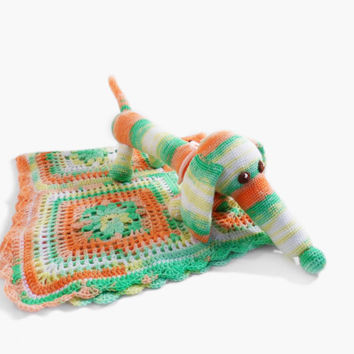 Crochet Baby Blanket with Stuffed Toy Dog, Baby Shower Set
