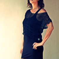 SALE - Sheer Fashion, The little black dress, Mini dress with Lace top, sexy black dress, layered dress, sheer blouse