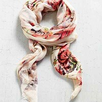 Botanical Floral Oblong Scarf- Neutral Multi One