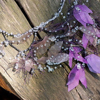 "Bridal jewelry with dew drop ""Spring Mist"". Whimsical wedding necklace with purple spring flowers and drops of dew."
