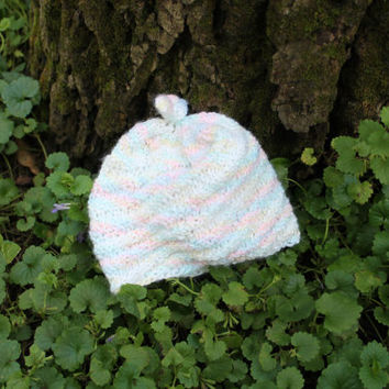 Knitted Baby Hat, Varigated Pastel Colors, Soft, Swirl, Whimsical, Top Knot, 4-8 months