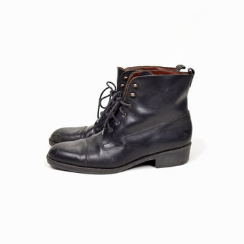 Vintage Black Leather Lace Up Boots by Eddie Bauer - women's 11