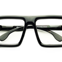 Thick Framed Clear Lens Square Flat Top Glasses Frames FT24