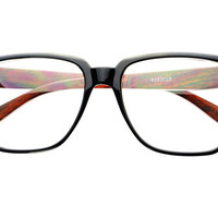 Nerd Geek Clear Lens Square Glasses Red Wood T252 - Default Title / Medium / Red Wood