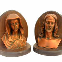Vintage Chalkware Bookends Wood Virgin Mary Jesus Busts Figures