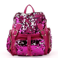 Sequin Drawstring Backpack in Fuchsia