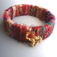 Bangle Bracelet of Sari Silk and Gold Vermeil Charm