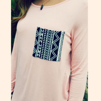 Pocket Full Of Print Peach Printed Pocket Top