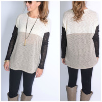 Winter Nights Taupe Color Block Knit Sweater