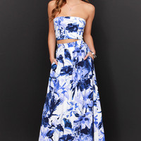 Placid Trip Blue and Ivory Print Two-Piece Dress
