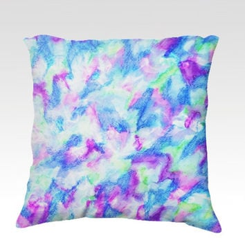 THE FLOCK 2 Fine Art Velveteen Throw Pillow Cover 18 x 18 Abstract Turquoise Royal Baby Blue Mint Purple Modern Dorm Home Decor Painting