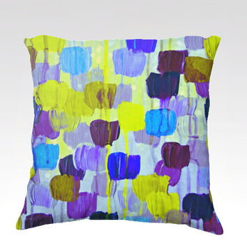 DOTTY IN PERIWINKLE Fine Art Velveteen Throw Pillow Cover 18x18 Abstract Purple Blue Lime Polka Dot Tulips Modern Dorm Home Decor Painting