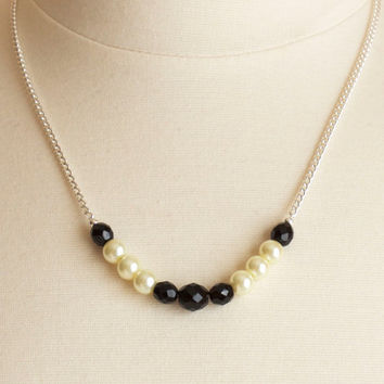SALE!!! Black and Ivory Beaded Chain Necklace