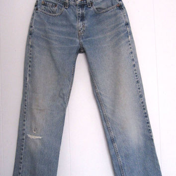 """Vtg Levi's Light Mid High Waisted Jeans 8 Straight Distressed Stained Faded 29"""""""