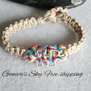 Autism jewelry - Autism bracelet hemp paracord open puzzle piece bracelet truly different. By Geneva's Sky