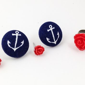 Dress Blues ~ fabric button jewelry from the Blue piano