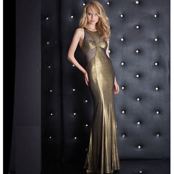 Jasz Couture Sexy Gold & Black Sexy Sheer Cutouts Low Lace Up Back Dress Prom 2015