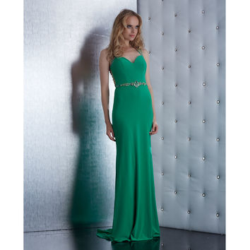 Jasz Couture Green Breathtaking Beaded Sheer Back Dress  Prom 2015