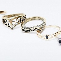 Collective Ring Set in Gold - Urban Outfitters