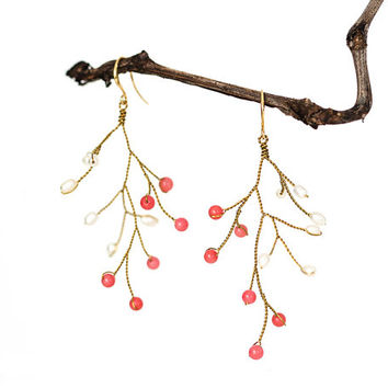 Natural pearl earrings, Gold earrings, Natural pink coral earrings, Coral earrings, Twig earrings, Vine earrings, Coral jewelry, Bridal.