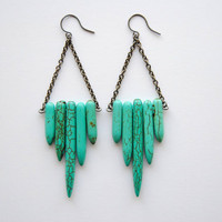 FREE SHIP - Turquoise Shield Earrings - Summer &amp; Fall Fashion Jewelry - Free Shipping in the US