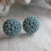 Light Pastel Baby Blue Dahlia Vintage Style Chrysanthemum Shabby Chic Earrings Posts 15mm