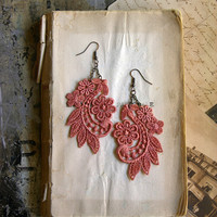 ady lace earrings by whiteowl on Etsy