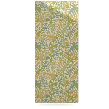 """Julia Grifol """"Warm Tropical Leaves"""" Green Orange Luxe Rectangle Panel"""