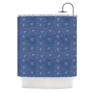 """Julia Grifol """"White Flowers on Blue"""" Navy Blue Shower Curtain - 69"""" x 70"""" / Polyester"""