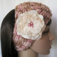 Ear Warmer Headband Headwrap Hand Knit In Brown Pink and Cream  with Removable Fabric Flower