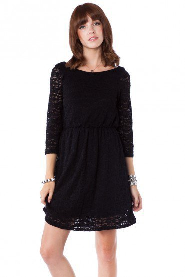 Swan Lace Dress in Black - ShopSosie.com