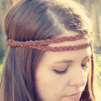 The Boho Band, Double Strand Bohemian Braid Headband in Cognac, Indie, elastic closure, Braided Headband, Bohemian Style
