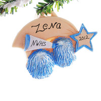 Cheer Leader ornament - Christmas ornament personalized free - Blue and white cheer ornament - remember that special year cheering