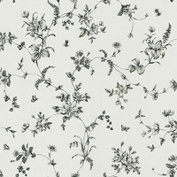 Vivace Floral Trail Wallpaper in Black and White by Brewster Home Fashions