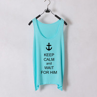 Keep Calm and Wait for Him - Women Tank Top - Tiffany Blue- Sides Straight