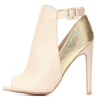 Metallic Color Block Peep Toe Booties by Charlotte Russe - Nude