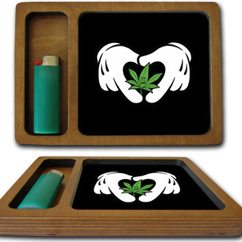 Mickey Hearts Weed Rolling Tray Manufactured In California