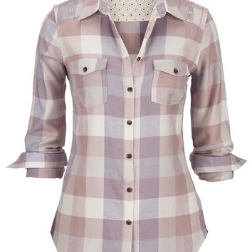 embroidered shoulder plaid button down shirt