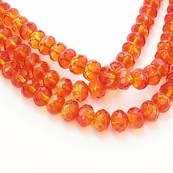 Czech Glass Orange Yellow 9x6 Fire Opal Rondelles 25 Pcs  B678A