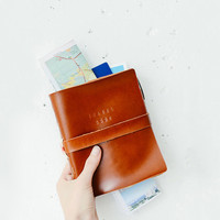 Leather Travel Journal (large, A5) - handmade leather travel book