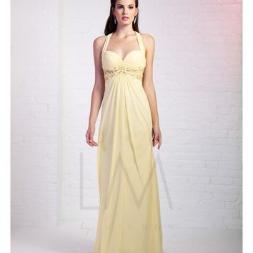 LM by Mignon Lemon Yellow Chiffon Empire Waist Open Back Gown Prom 2015