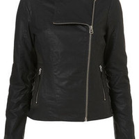 Longline Collarless Biker Jacket - Jackets  - Apparel