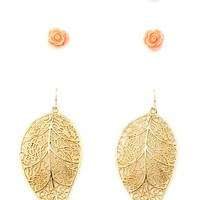 Pearl, Rosette & Leaf Earrings - 3 Pack by Charlotte Russe - Gold