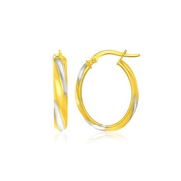 14K Two-Tone Gold Spiral Hoop Earrings